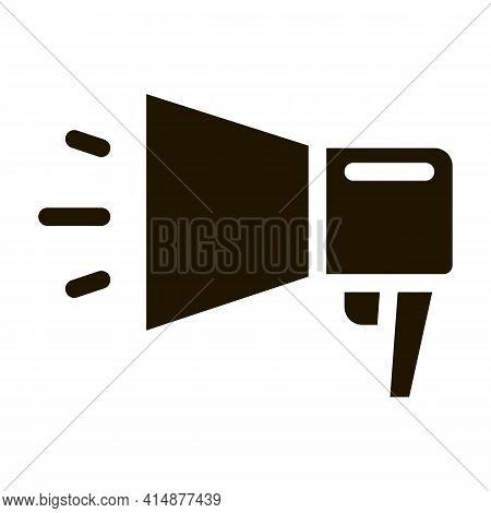 Webshop Loudspeaker Advertising Glyph Icon Vector. Webshop Loudspeaker Advertising Sign. Isolated Sy