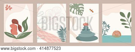 Abstract Template With Relaxation Spa Theme. Equilibrium. Banner - Cover Background With Nature - Su