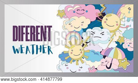 Different Weather Poster Cartoon Vector Illustration. Collection Of Various Emotional Sky Fairy Char