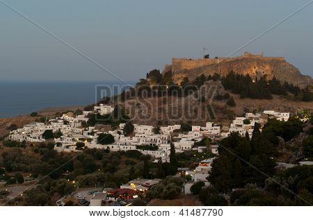Lindos Acropolis In The Evening