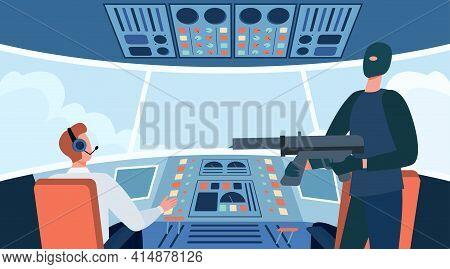 Terrorist Hijacking Aircraft And Holding Gun. Plane, Weapon, Mask Flat Vector Illustration. Crime An
