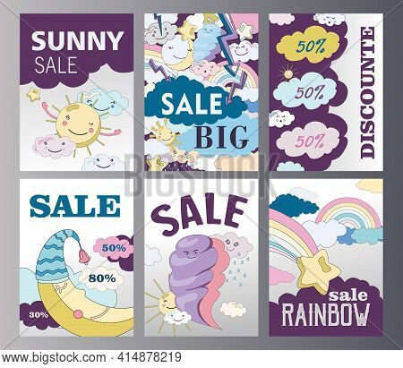 Set Of Weather Discount Flyers Cartoon Vector Illustration. Different Weather States Posters In Flat