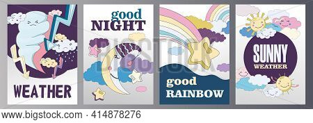 Weather Flyers Set Cartoon Vector Illustration. Different Weather Themes Banners. Cloudy, Sunny, Rai