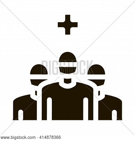 Surgeon And Nurses Glyph Icon Vector. Surgeon And Nurses Sign. Isolated Symbol Illustration