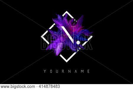 N Letter Logo Design With Colorful Ink Stroke Over White Square Frame. Creative Vector Illustration