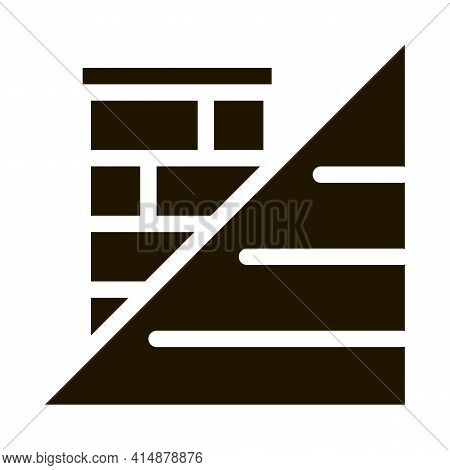 Roof And Chimney Glyph Icon Vector. Roof And Chimney Sign. Isolated Symbol Illustration