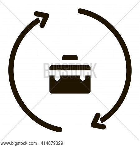 Case In Home With Circle Arrows Glyph Icon Vector. Case In Home With Circle Arrows Sign. Isolated Sy