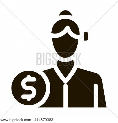 Businesswoman Profession Glyph Icon Vector. Businesswoman Profession Sign. Isolated Symbol Illustrat