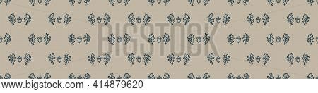 Hand Carved Oak Leaf Block Print Seamless Border Pattern. Rustic Naive Folk Motif Illustration Banne