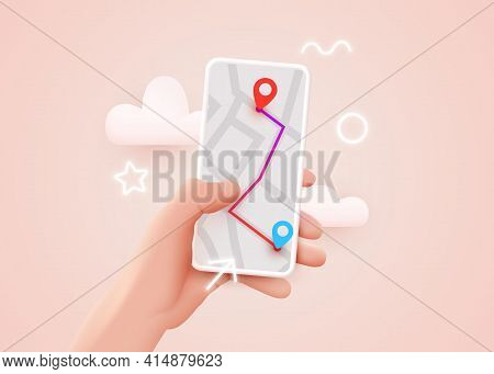 Hand Holding Phone With Map And Pointer. Mobile Gps Navigation And Tracking Concept. Background For