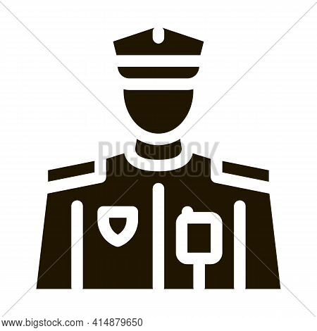 Policeman Profession Glyph Icon Vector. Policeman Profession Sign. Isolated Symbol Illustration