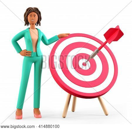 3d Illustration Of African American Woman Standing Next To A Huge Target With A Dart In The Center,