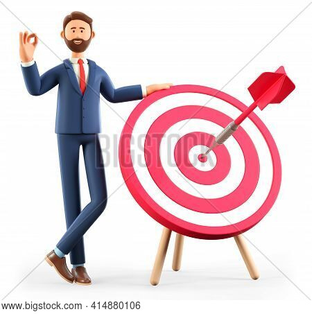 3d Illustration Of Smiling Man Standing Next To A Huge Target With A Dart In The Center, Arrow In Bu