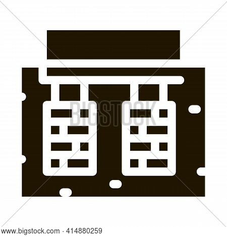House Foundation Glyph Icon Vector. House Foundation Sign. Isolated Symbol Illustration