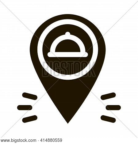 Food Delivery Gps Mark Glyph Icon Vector. Food Delivery Gps Mark Sign. Isolated Symbol Illustration