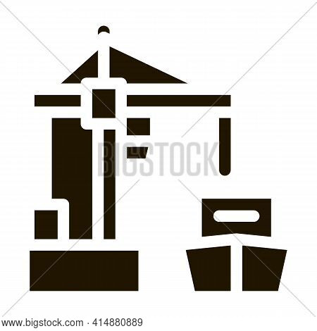 Port Crane And Ship Glyph Icon Vector. Port Crane And Ship Sign. Isolated Symbol Illustration