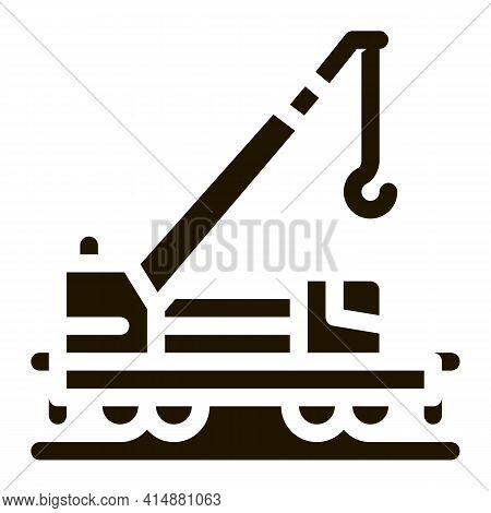 Railway Crane Glyph Icon Vector. Railway Crane Sign. Isolated Symbol Illustration