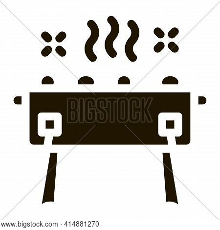 Bbq Brazier Glyph Icon Vector. Bbq Brazier Sign. Isolated Symbol Illustration