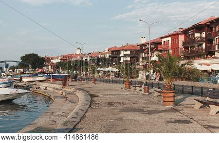 Nessebar, Bulgaria - July 20, 2014: Street View Of Nessebar Old Town. Ordinary People Walk The Stree