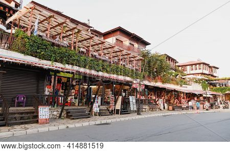 Nessebar, Bulgaria - July 20, 2014: Coastal Street Of Nessebur Old Town, Small Tourist Shops And Res
