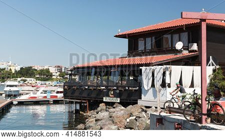 Nessebar, Bulgaria - July 21, 2014: Floating Sea Food Restaurant In Old Nesebar, Ordinary People Are