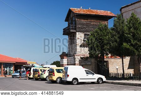 Nessebar, Bulgaria - July 21, 2014: Old Town Nessebur Street View With Old Wooden Living Houses And