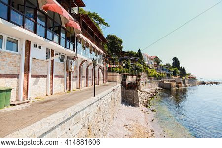 Nessebar, Bulgaria - July 21, 2014: Coastal Street View, The Old Town Nessebur, Traditional Small Ho