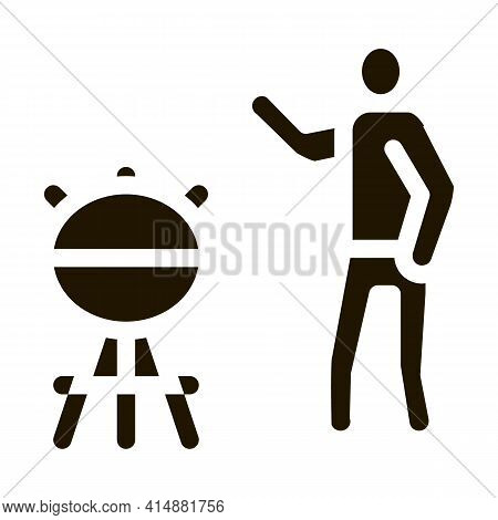 Human Cooking Bbq Glyph Icon Vector. Human Cooking Bbq Sign. Isolated Symbol Illustration