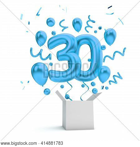 Happy 30th Birthday Blue Surprise Balloon And Box. 3d Rendering