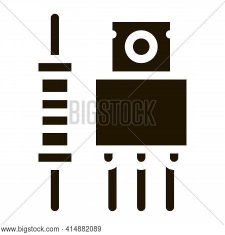 Radio Spare Parts Glyph Icon Vector. Radio Spare Parts Sign. Isolated Symbol Illustration