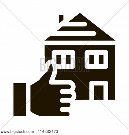 House Hand Gesture Show Like Glyph Icon Vector. House Hand Gesture Show Like Sign. Isolated Symbol I