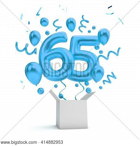 Happy 65th Birthday Blue Surprise Balloon And Box. 3d Rendering