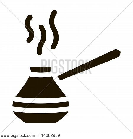 Pot For Boil Coffee Glyph Icon Vector. Pot For Boil Coffee Sign. Isolated Symbol Illustration