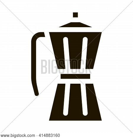 Pot For Boiling Coffee Glyph Icon Vector. Pot For Boiling Coffee Sign. Isolated Symbol Illustration
