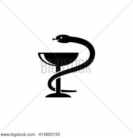 Pharmacy, Medical Snake Wrapped Around Bowl. Flat Vector Icon Illustration. Simple Black Symbol On W