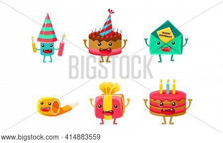 Birthday Party Objects Characters Set, Happy Funny Cake, Popper, Ballon, Gift Box, Invitation Cartoo