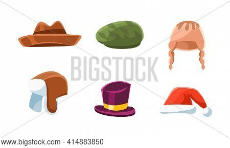 Set Of Hats And Headgears, Male And Female Headwear, Classic And Modern Clothes Accessories Cartoon