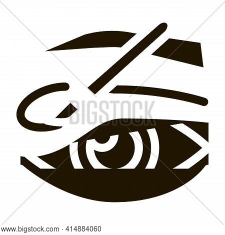 Eyelid Surgery Incision Glyph Icon Vector. Eyelid Surgery Incision Sign. Isolated Symbol Illustratio