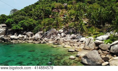 Tropical Palms And Stones On Small Beach. Many Green Exotic Palms Growing On Rocky Shore Near Calm B