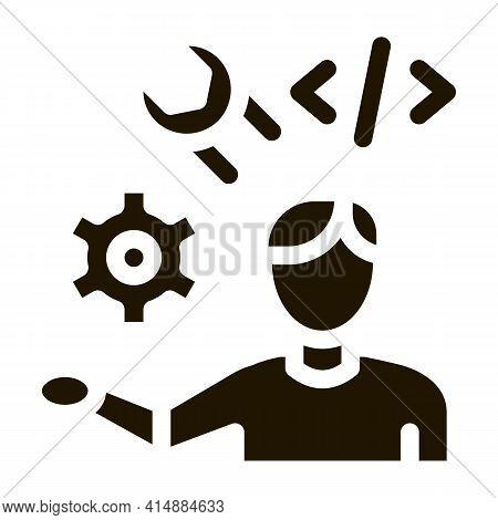 Front End Developer Glyph Icon Vector. Front End Developer Sign. Isolated Symbol Illustration