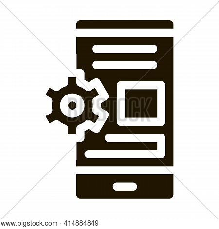 Web Site Adaptive For Phone Glyph Icon Vector. Web Site Adaptive For Phone Sign. Isolated Symbol Ill