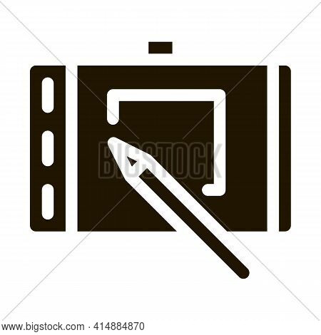 Web Site Design On Tablet Glyph Icon Vector. Web Site Design On Tablet Sign. Isolated Symbol Illustr
