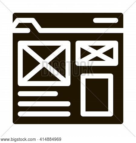 Front End Web Site Style Glyph Icon Vector. Front End Web Site Style Sign. Isolated Symbol Illustrat