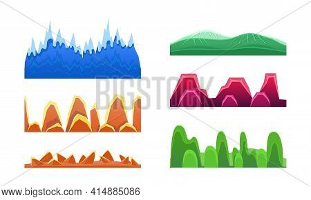 Colorflul Hills And Mountains Set, Seamless Landscape Design Element For Game Interface, Horizontal