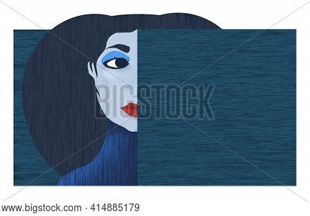A Woman Made With A Graphic Look Of Bold Colors Holds A Blank Text Area For Copy Or More Art.