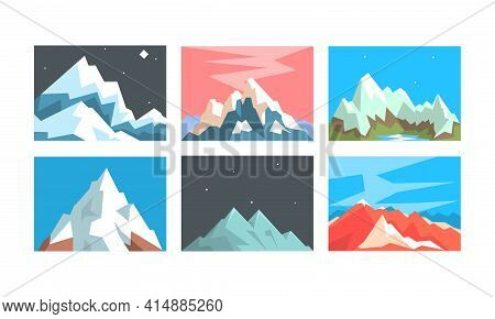 Beautiful Mountain Landscapes Collection, Peaceful Scenery Featuring Snowy Mountain Peaks In Differe