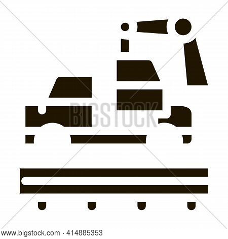 Car Manufacturing Glyph Icon Vector. Car Manufacturing Sign. Isolated Symbol Illustration