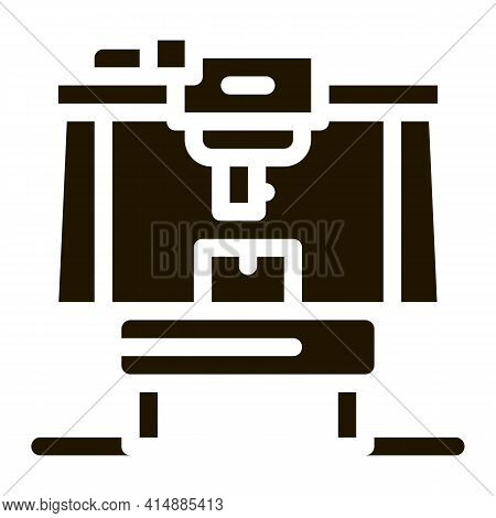 Manufacturing Machine Glyph Icon Vector. Manufacturing Machine Sign. Isolated Symbol Illustration