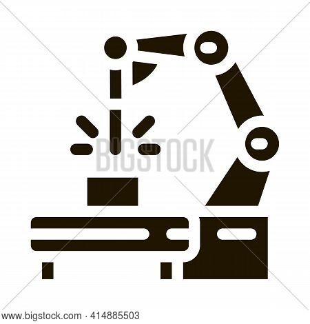 Manufacturing Engineering Machine Glyph Icon Vector. Manufacturing Engineering Machine Sign. Isolate