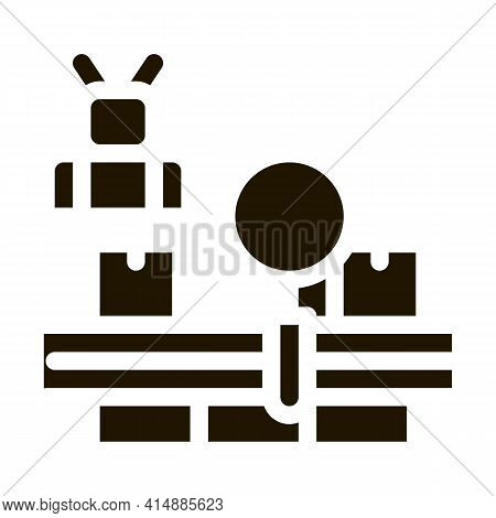 Manufacturing Defect Search Glyph Icon Vector. Manufacturing Defect Search Sign. Isolated Symbol Ill